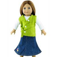 China 3PC Apple Green Doll Sweater , 18 inch Doll Clothes , Madame Alexander Doll Clothing with Long Jean Skirt on sale