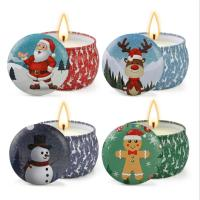 China Scented Soy Wax Cute Pattern Christmas Tin Candles Jar With Metal Lid Lightweight wholesale
