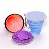 China BPA Free Food Grade Collapsible Silicone sport cup with long lanyard wholesale