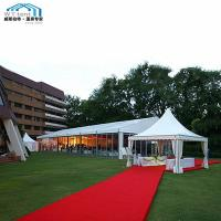 China Large Outdoor Wedding Tent Glass Wall Fire Retardant Fabric Cover on sale
