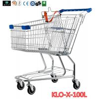 China Portable Metal Rolling Grocery Supermarket Shopping Trolley Carts Zinc Plated wholesale