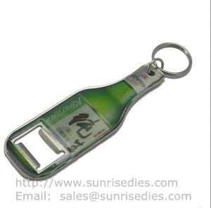 China Zamak Bottle shaped bottle opener key tag, epoxy dome bottle shape beer opener key ring wholesale