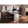 China Waterproof Wooden Veneer Kitchen Cabinets Flat Panel Acrylic Stone Countertop wholesale