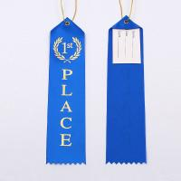 China Fancy Custom Award Ribbons Blue / Red / White Color Hot Stamping Printing wholesale