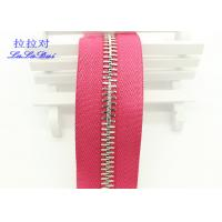 China High Polished Gold Long Chain Zipper Pink Polyester Tape For Garments / Bags wholesale