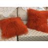 China Mongolian Sheepskin Wool Cushion Genuine Long Curly Fur Pillow sheepskin curly fur cushion wholesale