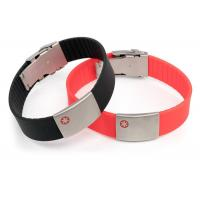 China Size Adjustable Silicone Medical ID Bracelets Waterproof With SS Plate Tag wholesale