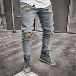 China High Waist Nostalgic Men'S Stretch Ripped Jeans Drawstring Closure wholesale