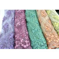 Buy cheap Beaded Embroidered Mesh Lace Fabrics, 3D Floral Lace Fabrics For Evening Dresses from wholesalers