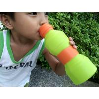 China Leak Proof  Protable Green Silicone Foldable Sports Drinking Bottle For Kids wholesale