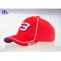 100% Polymesh 6 Panel Red Custom Baseball Caps With White Piping and 3D Embroidery