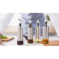 Buy cheap Metal Casing Glass Oil Bottles With Pourer / Stainless Steel Glass Vinegar from wholesalers