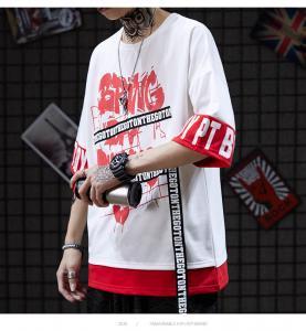 China Small quantity clothing manufacturer  Oversize 100% Cotton Men Streetwear T Shirts Heat Transfer Press wholesale