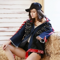 China Black Loose Ladies Embroidered Denim Jacket With Pearl wholesale