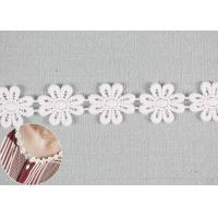 Buy cheap Embroidered Flower Appliques Cotton Lace Trim Dyeing DTM Color With Small MOQ from wholesalers