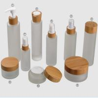China Frosted Bamboo Cosmetic Glass Jars Sets 15g 30g 150g 50ml 100ml 120ml wholesale