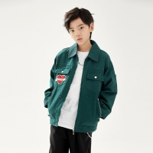 China Anti Pilling Green Baseball Jackets Solid Color Boys Tops wholesale