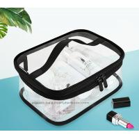 China Double Pullers Portable Clear PVC Makeup Bag Zippered Waterproof Cosmetic Bag Transparent Travel Storage Carry On Pouch wholesale