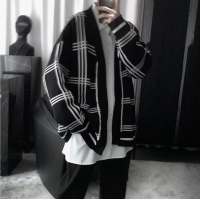 China 12GG Black And White Grid Mens Warm Sweaters Collarless Lazy Wind wholesale