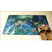 Customized Polyester Rubber Floor Carpet , Sublimation Printing Rubber Door Mat