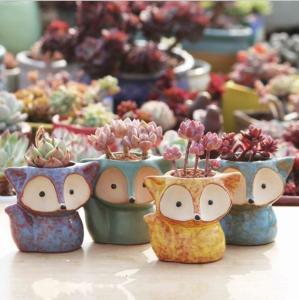 China Cartoon Cute Mini Desktop fox shaped Ceramic Animal Pot Succulent Planter wholesale