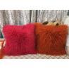 China Long Mongolian sheepskin Pillow Two Toned Tibetan lamb fur cushion pillow cover wholesale