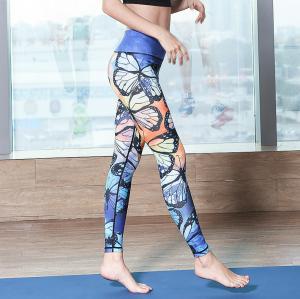 China 220GSM Stretchy Nylon Ladies Yoga Wear Leggings High Waisted Custom Printed wholesale