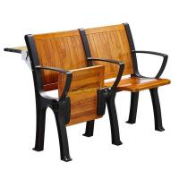 China Walnut Wood Interlocked Folding Up Metal Leg Amphitheater Chairs With Hidden Table wholesale
