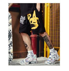 China 5XL 6XL Monogrammed Men Streetwear Shorts Hip Hop Punk Rock Loose Sport Pants wholesale