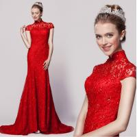 China Retro Red Lace Embroidery Qipao Wedding Dress with long trains for bride wholesale