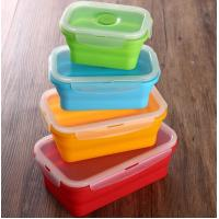 China Set of 4 Collapsible Silicone Food Storage Container FDA silicone lunch box for kids wholesale