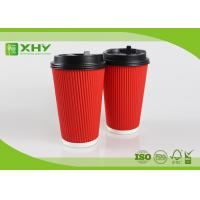 China 16oz Corrugated Ripple Paper Cups With Lid / Small Thin Ripple wholesale