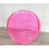 China Round Pink Clear Plastic Toiletry Bags For Women Heat-Sealed Welded wholesale