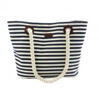 Buy cheap Custom Striped Ladies Canvas Tote Bags with Leather Handle / Canvas Weekend Travel Bag from wholesalers