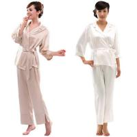Woman's Silk Belt-Tie Pajama Set S049(