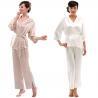 China Woman's Silk Belt-Tie Pajama Set S049( wholesale
