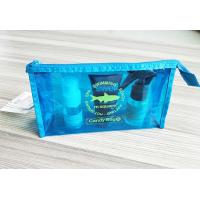 China Bright Blue Waterproof Zipper PVC Cosmetic Bag , Transparent Vinyl Make Up Pouch wholesale