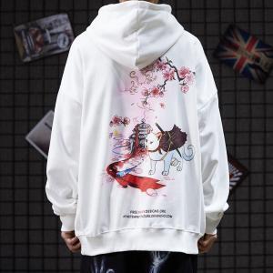 China Original Graffiti Cat Printed Baggy Fleece Hoodie 220GSM To 320GSM wholesale