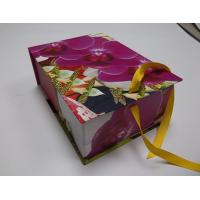 China Colorful Flowerscardboar Gift Folding Box With Silk Ribbon For Decoration Packaging wholesale