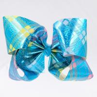 China Glitter Grosgrain Cheer Hair Bows Butterfly Shape Double Face For Little Girl wholesale