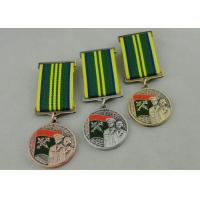 Quality Zinc Alloy 3D Custom Medal Awards , Antique Gold Plating And Special Ribbon for sale