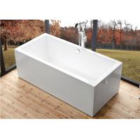 China Deep Soaking Rectangle Acrylic Free Standing Bathtub With Overflow Space Saving wholesale