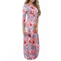 Buy cheap Casual 3 4 Sleeves Summer Floral Maxi Dresses , Petite Length Maxi Dresses For Weddings from wholesalers