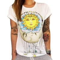 Deepbest Women Chase Sun Moon Printing Tees Shirt Short Sleeve T Shirt Blouse, we can add your own design
