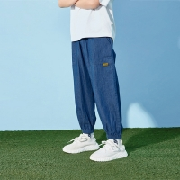 China Windproof Pleated 0.7M To 1.2M Boy Denim Pants 90% Cotton 10% Polyester wholesale