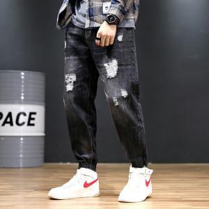 China Customized Logo Polyester Haren Nine Point Pants Loose Dark Blue Jeans wholesale