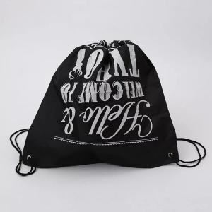 China Logo Printed Drawstring Gift Bags / Travel Black Cotton Drawstring Bags on sale