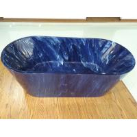 China 1700mm length ovel acrylic blue marble color freestanding bath tub with center drainer wholesale
