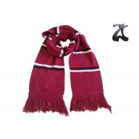 China Red And White Knit Sweater Scarf , Striped Scarf With Fringe And Embroidery wholesale