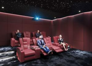 China Red Electric Recliner Leather Cinema Sofa Home Theater With Screen / Speaker wholesale